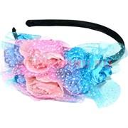 """Ободок для волос""""Розы"""" (426) двухцветные микс цветов цена за упаковку 12 шт"""