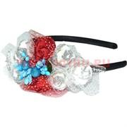 """Ободок для волос""""Розы"""" (426) трехцветные микс цветов цена за упаковку 12 шт"""