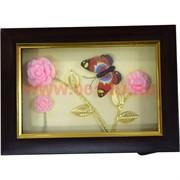 Картина настольная (HN-995) с бабочкой и розами, 72 шт/кор