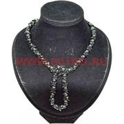 Набор бусы с браслетом из циркона черные
