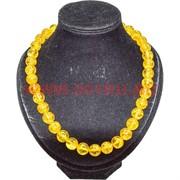 Бусы под янтарь желтые прозрачные 14 мм 50 см круглые