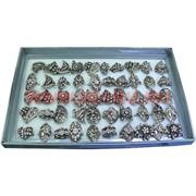 Кольца (M-1008) серебристые со стразами разной формы цена за упаковку из 50шт