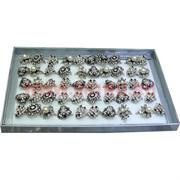 Кольца (M-1008) серебристые со стразами под жемчуг цена за упаковку из 50шт