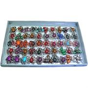 Кольца (M-1008) серебристые с камнем цена за упаковку из 50шт