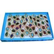 Кольца (M-222) самоцветы разной формы, цена за упаковку из 50шт
