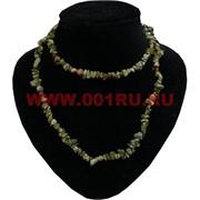 Нитка бусин зеленая яшма 80 см натуральный камень