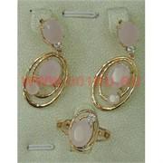 """Набор серьги и кольцо """"Тоскания"""" под розовый кварц размер 17-20"""