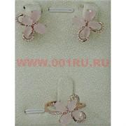 """Набор серьги и кольцо """"Лигурия"""" под розовый кварц размер 17-20"""
