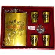 Набор с флягой 9 унций (003-5) герб России с 4 стаканчиками