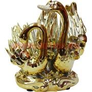 2 лебедя под золото из фарфора 14 см (804)