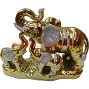 Слониха со слонятами из фарфора под золото 12 см (171-S)