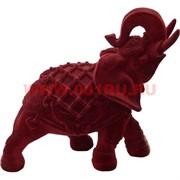 Слоник из полистоуна бордовый бархатный 18 см (760)
