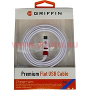 Кабель для iPhone 1 м белый GRIFFIN Flat USB Cable Premium