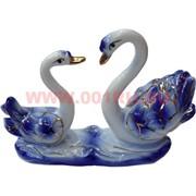 2 лебедя синие, фарфор