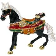 Шкатулка Лошадь со стразами (4500) черная 11 см