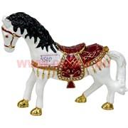 Шкатулка Лошадь со стразами (4500) белая 10 см