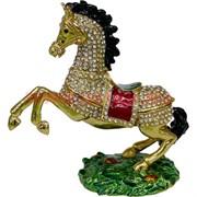 Шкатулка Лошадь со стразами (4503-1) гарцует 12,5 см