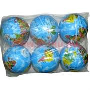 """Мячик прыгающий 9 см """"глобус"""", цена за 6 шт"""