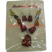 Набор: Колье и серьги из натур.янтаря крупные камни