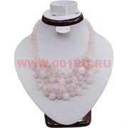 Колье из натурального камня 45 см розовый кварц