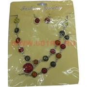 Набор: Колье и серьги из натур.янтаря мелкие камни