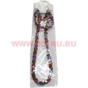 Набор:подвеска,браслет и серьги из циркона зелено-красно-синий цвет