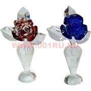 "Кристалл ""Роза в вазе"" 16 см 5 цветов"