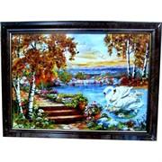 """Картина из янтаря """"Пейзаж"""" в багетной раме 11х15"""