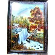 """Картина из янтаря """"Пейзаж"""" в багетной раме 35х45"""