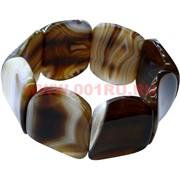 Браслет из агата с изогнутыми камнями, коричневый (3,2 см ширина)