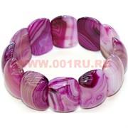 Браслет из агата, розовый (3 см ширина) прямоугольные пластины