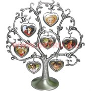 "Фоторамка ""Генеалогическое дерево сердечки"" на 7 фото, мельхиор"