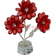Цветок тройной 13,5 см из стекла, металла, пластмассы
