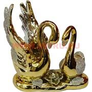 """Лебеди из фарфора """"крылья вверх"""" под золото (163F) 13,5 см высота"""