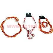 Бусы и браслет из бисера (трансформер) бело-красный