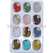 Набор большой петухов из натуральных камней цена за 12 шт (символ 2017 года)