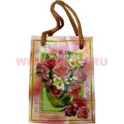 Пакет подарочный бумажный цветочный 6х8 см, 24 шт\уп