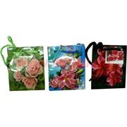 Пакет подарочный бумажный цветочный 9х11 см, 24 шт\уп