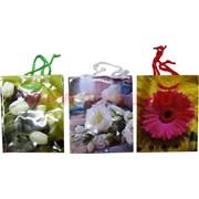 Пакет подарочный бумажный цветочный 12х15 см, 20 шт\уп