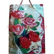 Пакет подарочный бумажный цветочный 30х40 см, 20 шт\уп