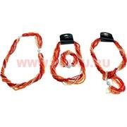 Бусы и браслет из бисера (трансформер) оранжево-серебристый