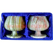 Набор из 2 бокалов 10 см (4х4) из оникса в бархатной коробочке
