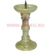 Подсвечник из оникса 16 см с металлическим стержнем для свечи