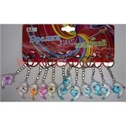 Брелок (KL-97) дельфин с шаром цветной прозрачный, цена за 120 шт (2400 шт/кор)