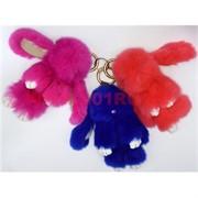 Заяц кролик подвеска малый с мехом цвета в ассортименте