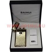 Зажигалка Baihui разрядная с узорами под золото с зарядкой от USB