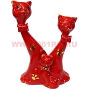 Семья котиков красные 15,5 см из фарфора