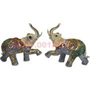 Слоники из полистоуна цветные, пара (22 см высота)