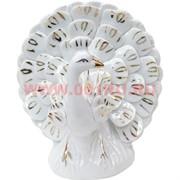Павлин из фарфора (158A) белого цвета 13 см высота