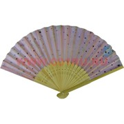 Веер маленький (бамбук, шелк) цвета миксом, цена за 50 шт